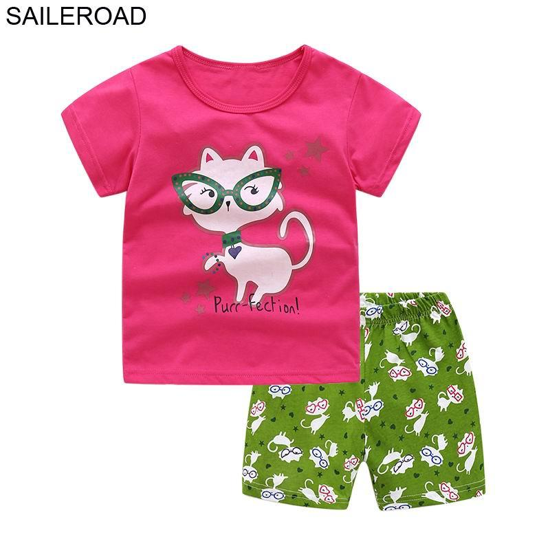 SAILEROAD Cartoon Cat Tracksuit for Girls Clothing Sets Summer Kits for Girls Clothes Suits Clothes Kids Costume 2pieces