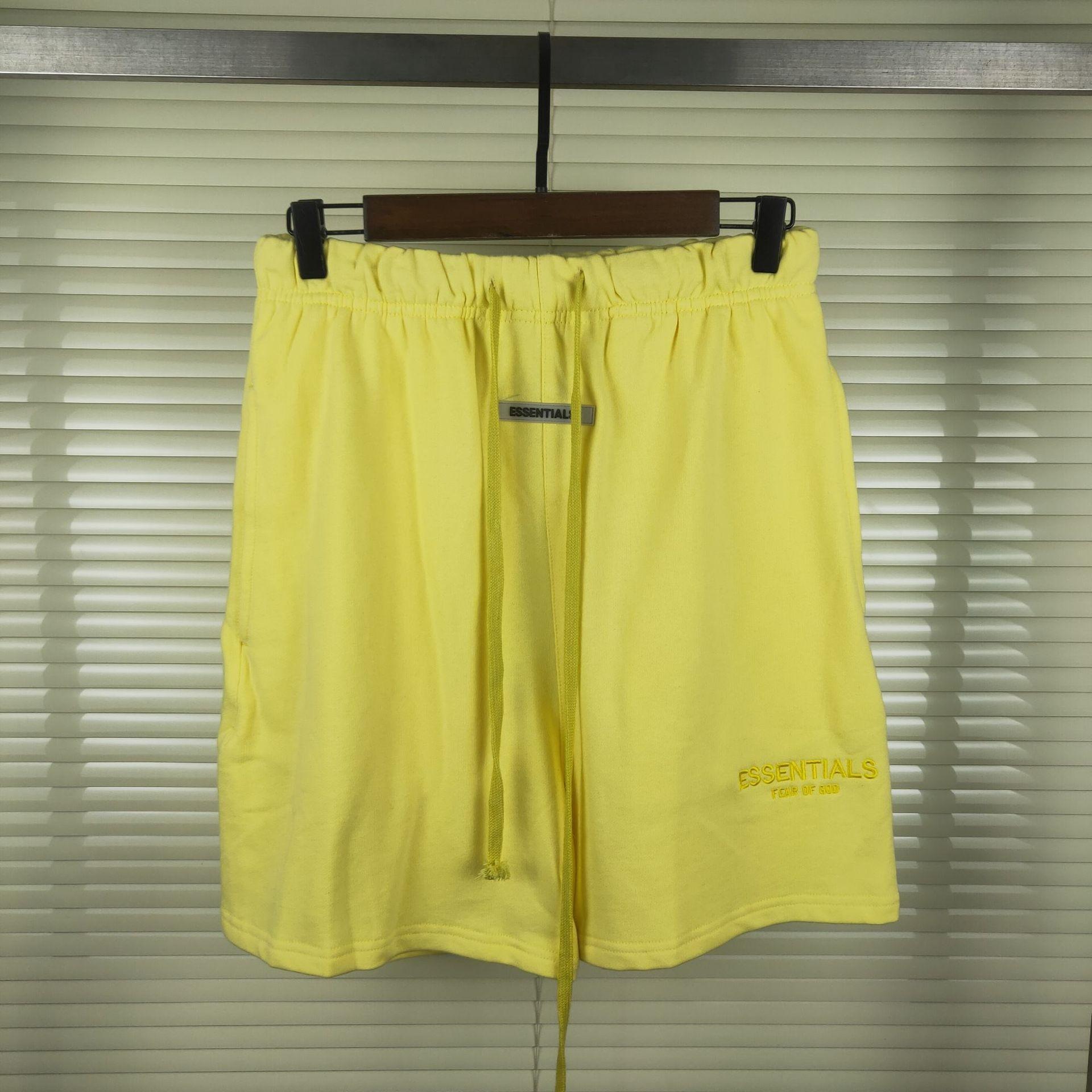 MEDO DE Shorts e shortsGOD ESSENTIALS dupla linha de tendência ocasional solta cordão FOG de rua calções de cinco pontos para os homens