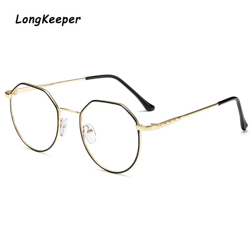 Brandlk Glasses Polygon Optical Frame Marca Marcos de diseño Mujeres Gafas Claro Lentes Reading Men's Metal Lens Eyewear Drinm