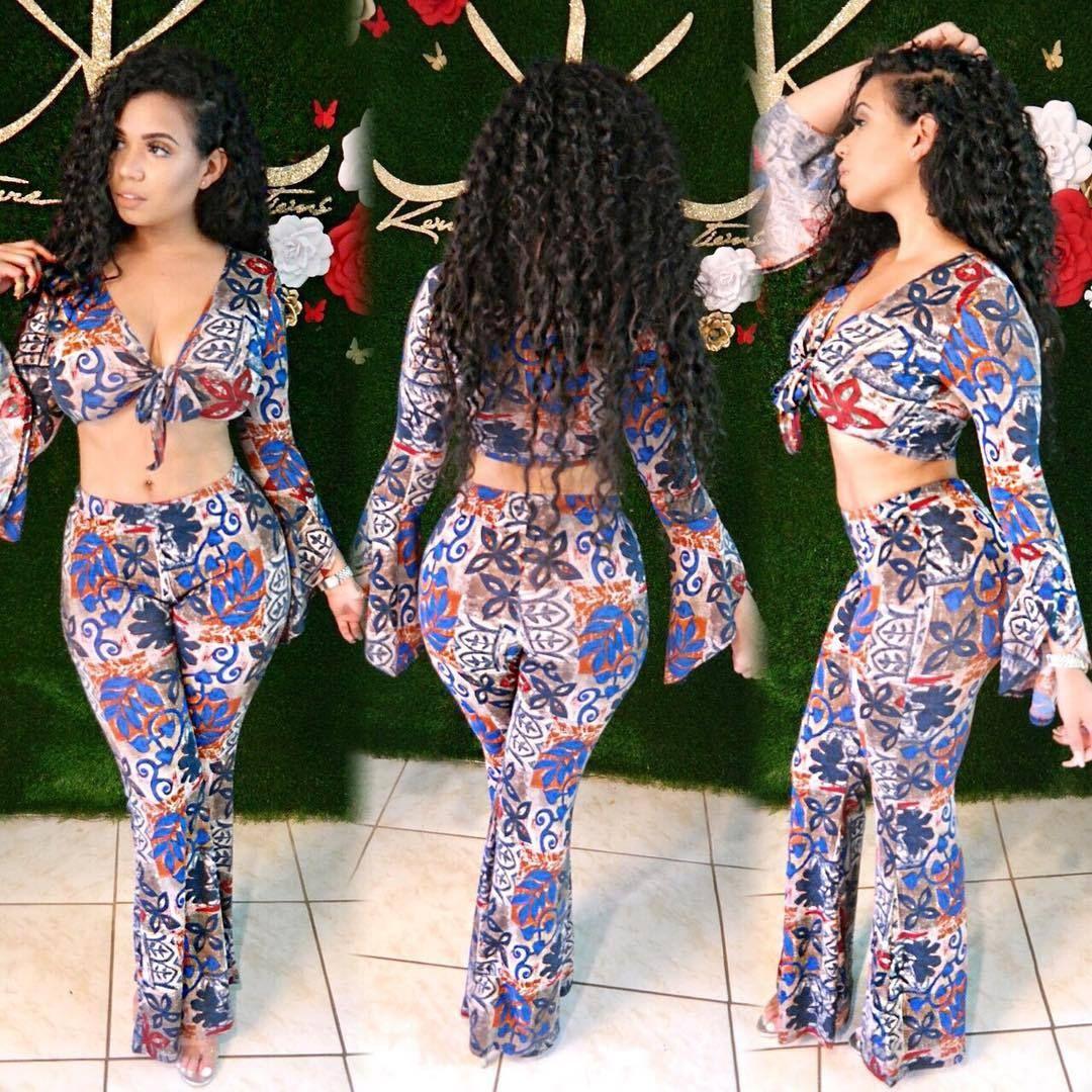 2020 ملابس نسائية جديدة رخيصة الصين بالجملة الأوروبية والأمريكية المرأة قطعتين مجموعات مثير طباعة مضيئة كم مضيئة السراويل