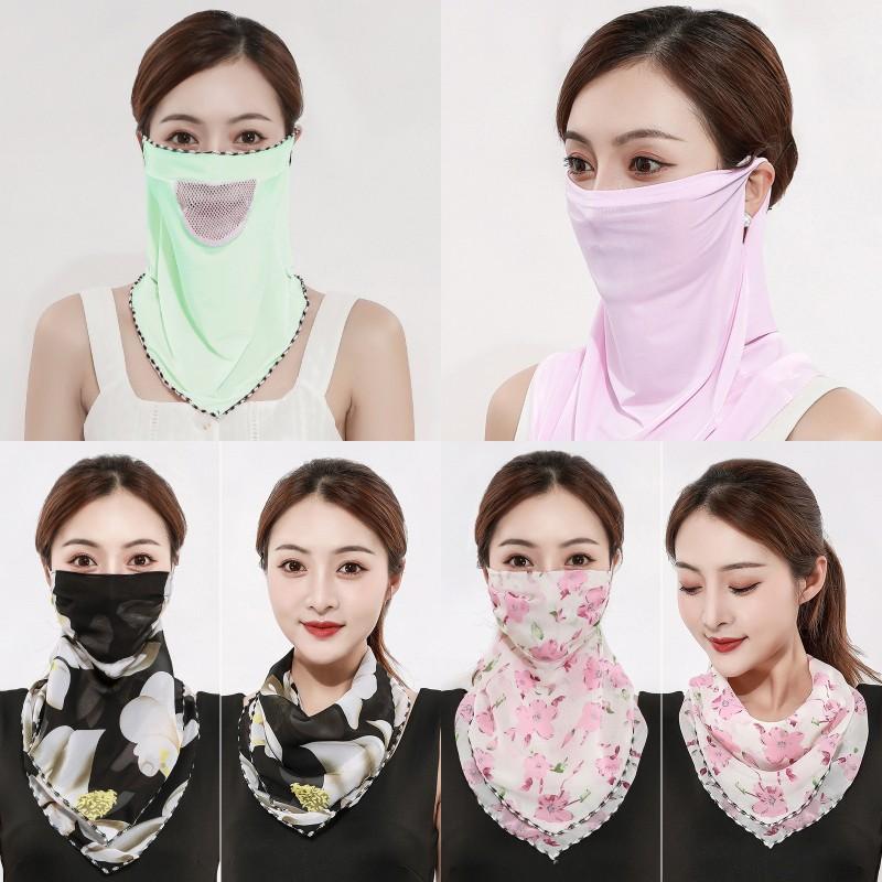 Mulheres Scarf face véu chiffon de seda Máscara Moda exterior Ladies Windproof Meia Face à prova de poeira pára-sol Máscaras Scarf DHD300