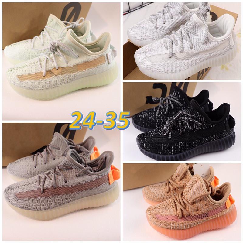 Adidas Yeezy Boost 350 V2 New Kids infantil v2 Tênis de corrida Barro Preto estática Kanye West Moda Bebê formadores menino da menina das crianças da criança tênis tamanho 24-35