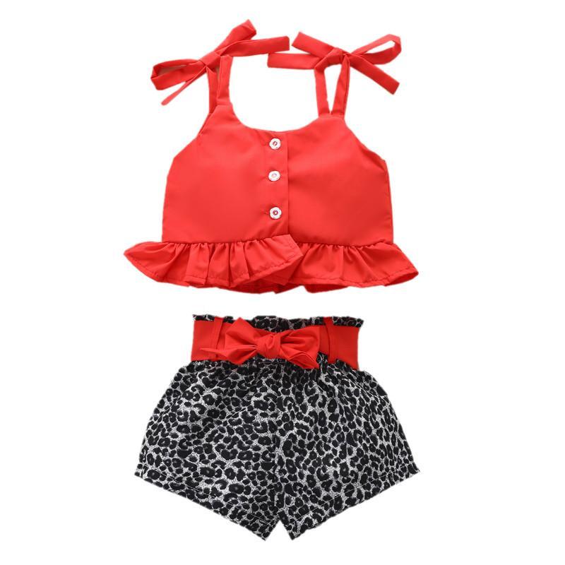 Summer Kids Девочка Топы Leopard шорты костюм вокруг шеи рукавов вскользь Сборки Хем Сыпучие Сладкие Buttons Tops