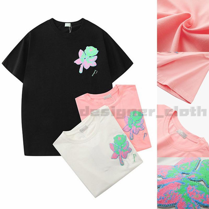 20ss 여름 핫 판매 여성 디자이너 T 셔츠 꽃 패션 로즈 자수 짧은 소매 레이디 티 캐주얼 의류는 CLOTHINGS 탑