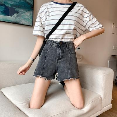 Grande tamanho de cintura alta shorts jeans shorts irmã de gordura e calças calças e calças estilo estudante coreano calças das mulheres soltas