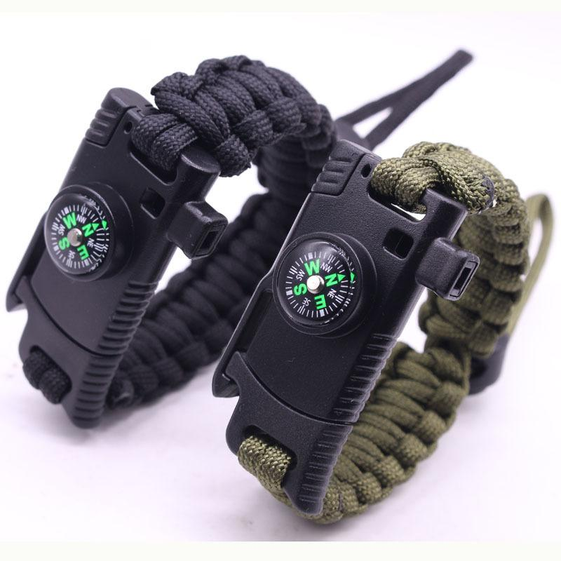 Taille réglable Outdoor Hommes Femmes multi-fonction Camping Corde Bangles Compass Whistle Couteau