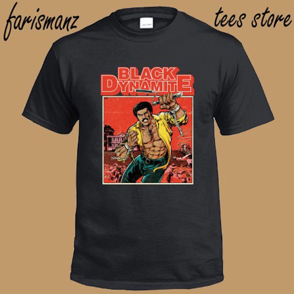New Black Dynamite Действие комедии Cartoon Мужская Черная футболка Размер Прохладный Повседневная гордость тенниски людей Unisex способа тенниска