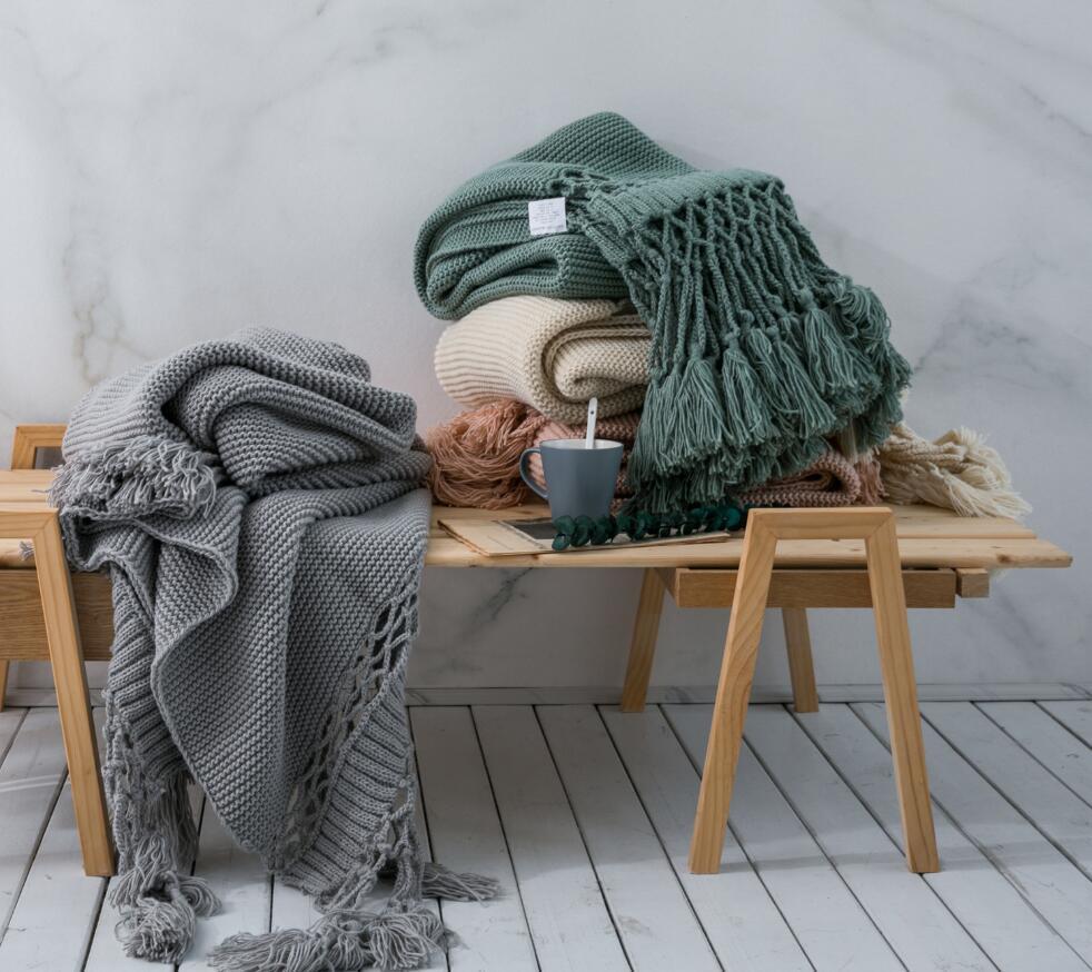 Quaste Decke amerikanischen Stil handgestrickte Seidentuch Sofa nap Klimaanlage Abdeckung Decke Photo Props