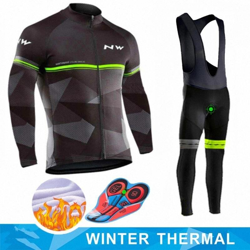 2020 2020 Winter Thermal Fleece Cycling Clothes Set Pro Team Men Long Sleeve Jersey Suit Outdoor Riding Bike MTB Bib Pants Set jQew#