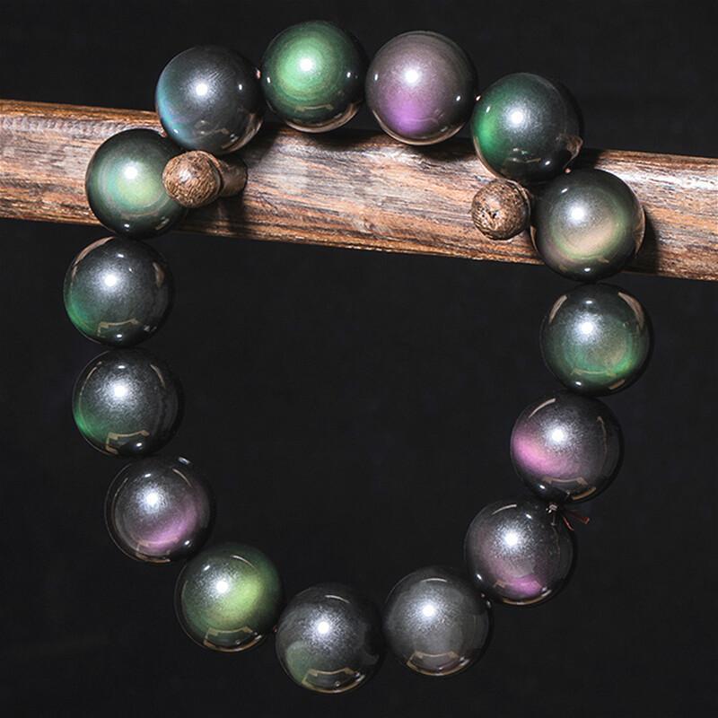 Véritable 6-20mm couleurs naturelles Obsidian pierres précieuses perles Charm Bracelet joaillierie Mode Sculpté Cadeaux Amulet pour ses femmes