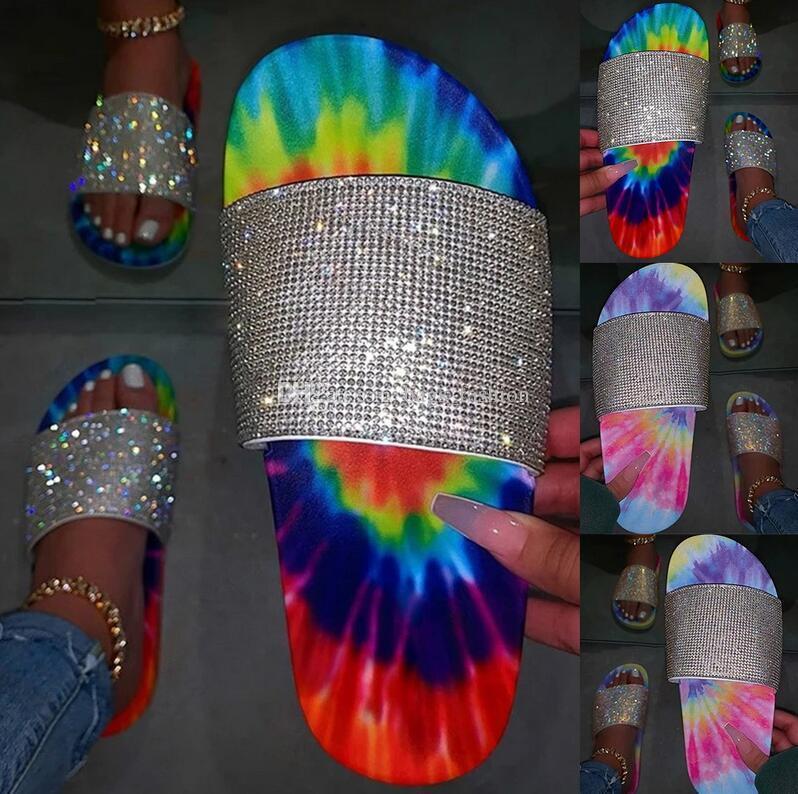 2020 женщин Тапочки Тапочки лето блеск Bling Slide Flat тапочка обувь низкий каблук Удобная дышащая Bling сандалии Бесплатная доставка