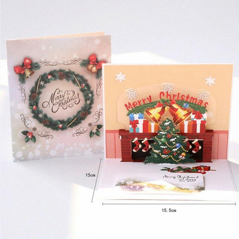 1pcs 3D Up Christmas Card di San Valentino' festa di nozze Day Greeting Card Anniversario Xmas uwYE #