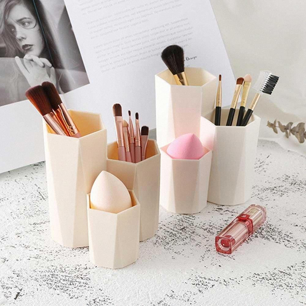 Makeup Organizer Plastic Box 3 Grades Jóias cosméticos escova caixa de armazenamento Para mesa de escritório Papelaria Organizadores 1a8w #