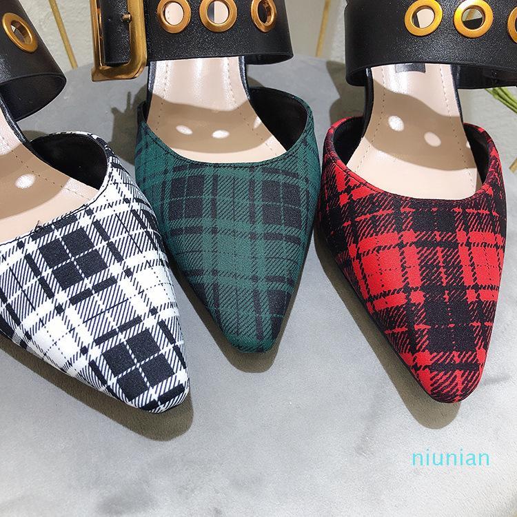sandali vendita calda punte femminile 2020 nuova casa Baotou HASP bene con scarpe col tacco alto moda sandali della donna