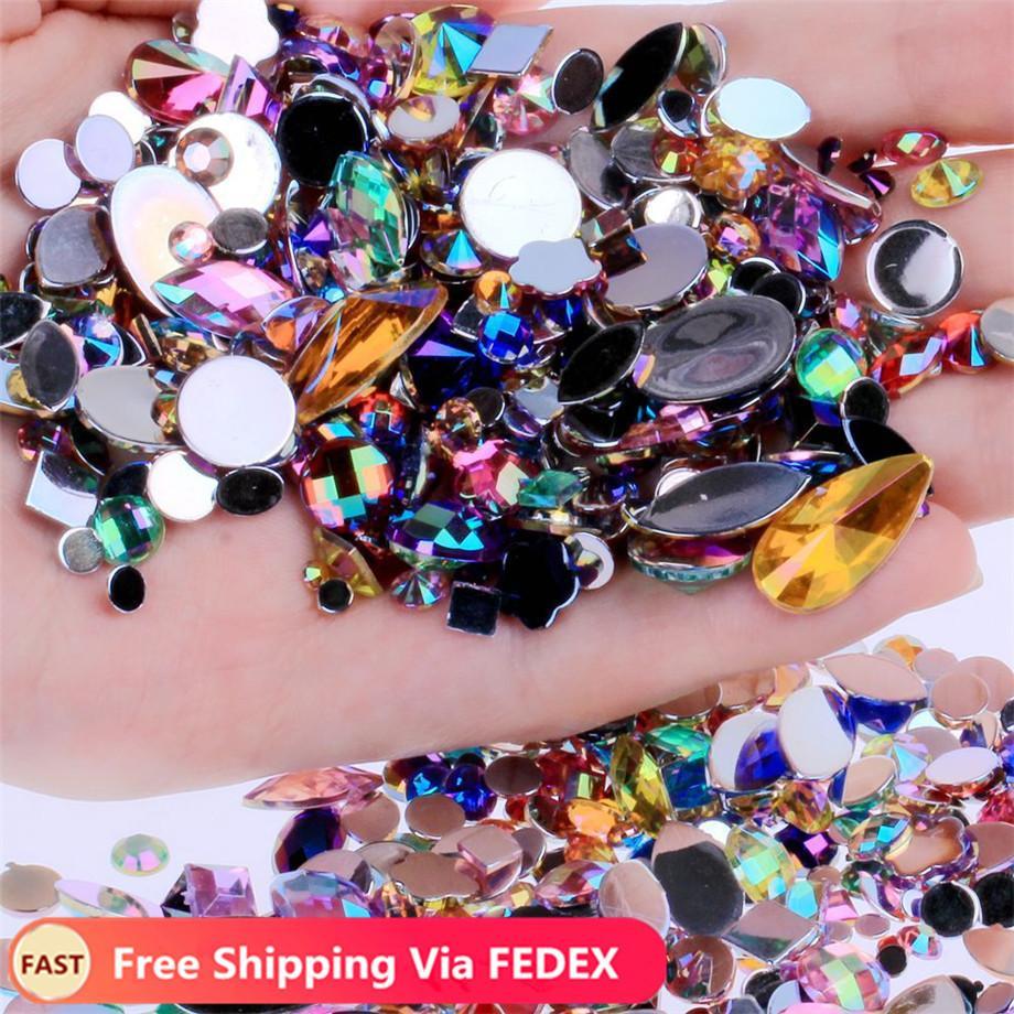 300pcs/pack AB Crystal Clear Nail Art Rhinestones DIY Flatback Acrylic Nail Stones Gems 3D Nails Art Decorations Manicure Tools Accessories