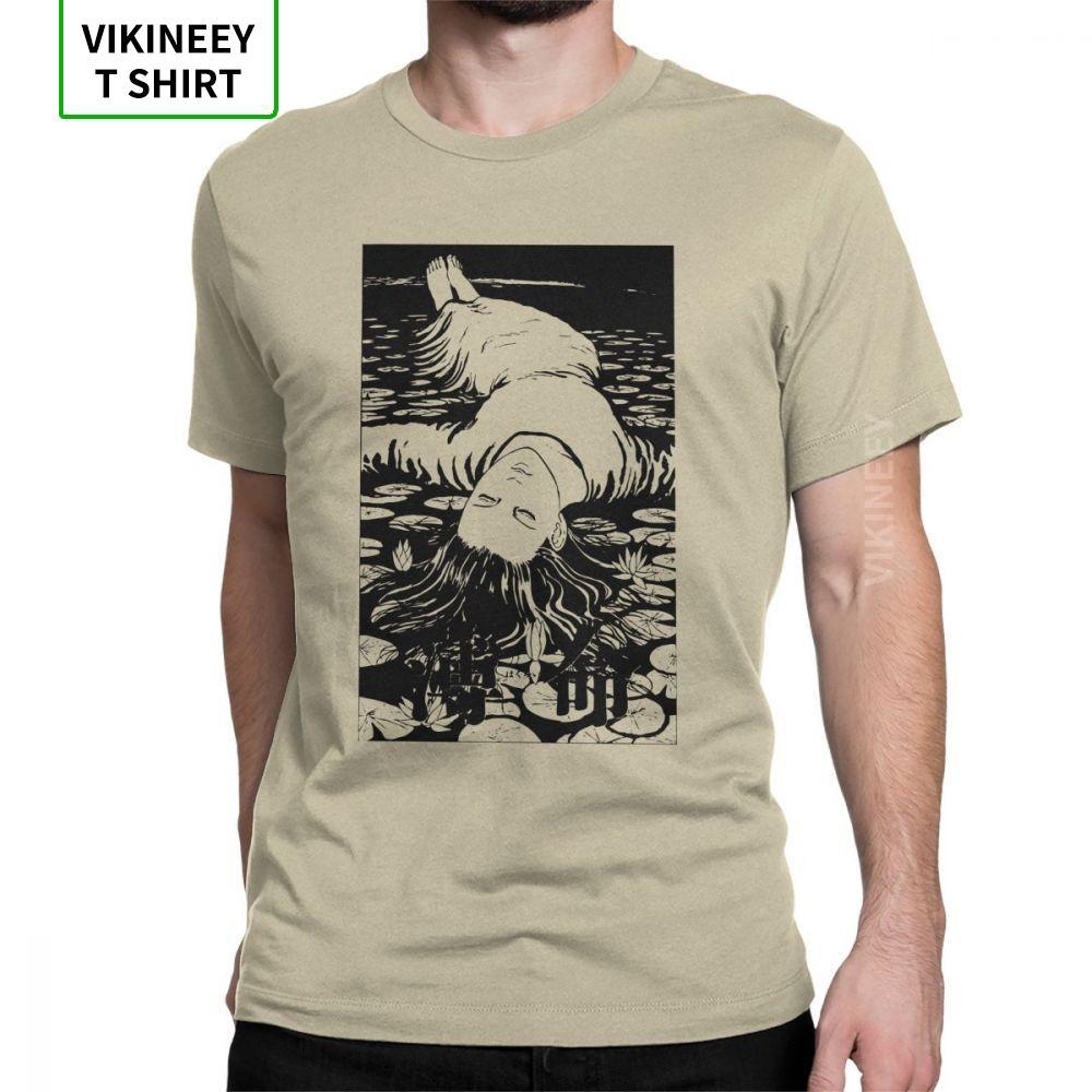 Elegir un amor camisetas Hombres Junji Ito manga de terror manga corta divertido Crew camisetas de algodón de cuello Tela Tops Plus camisetas del tamaño