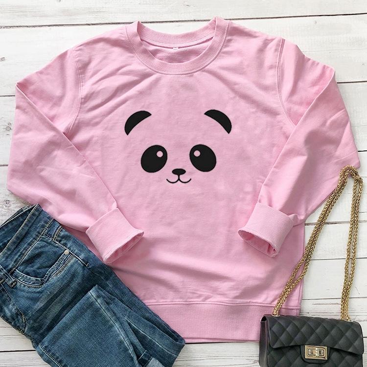 DfJtw Frauen-Pullover T-Shirt Katze Pullover Katze Gesicht Panda Gesicht niedliche Panda Kawai Muster Straße lange T-Shirt Hülse