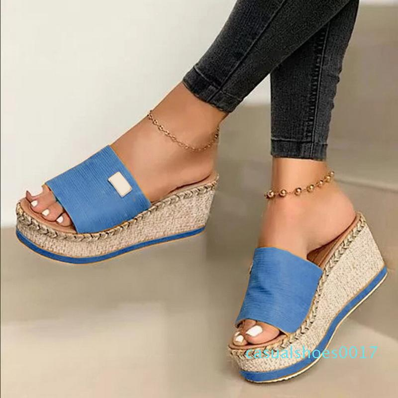 Zapatillas nuevas diapositivas de las mujeres sandalias del verano cuñas zapatillas suela gruesa plana Plataforma Mujer floral de la playa Zapatos de las chancletas c16