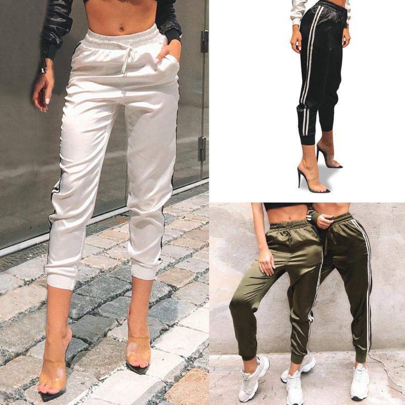 Мода Jogger Длинные брюки осень 2020 новых женщин Фитнес гетры Спорт высокой талией Боковые Полосатый беговые штаны Streetpant брюк