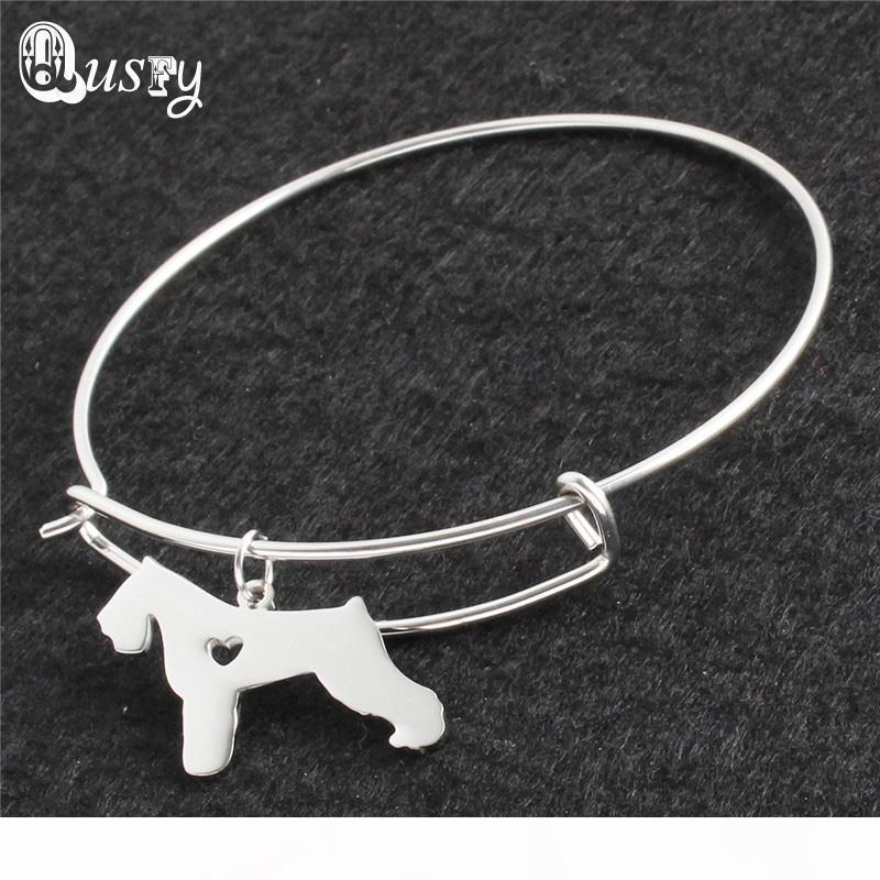Нержавеющая сталь шнауцеры Симпатичные собаки ожерелье браслет серьги комплект ювелирных изделий для женщин нк