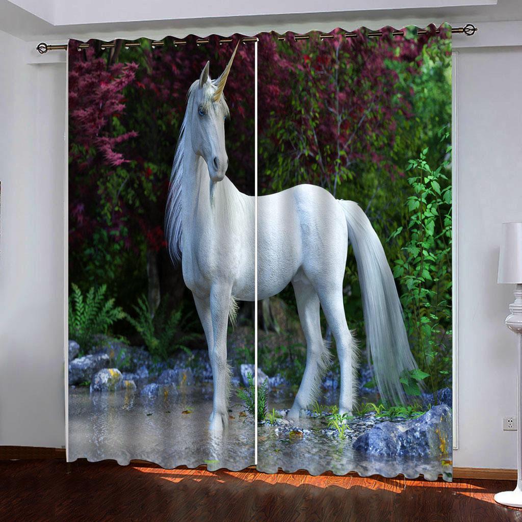 3d cortinas de Windows foto en blanco altos cortinas opacas unicornio para los dormitorios salón ventana de la cocina cortina decoración