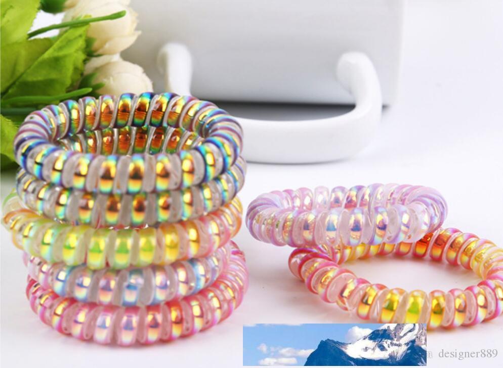 Frauen-Mädchen-Gummi-Haar-Seil-elastische Haarbänder Spiralform Spule Haar-Riegel Kopfbedeckung Zubehör Telefon-Draht-Linie Stirnband Haarschmuck