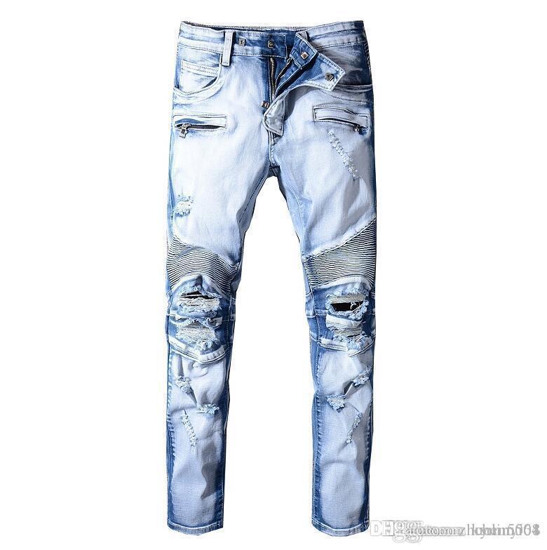 BAUME Jeans New Street Mode Hommes Jeans avec tirettes Ripped Hip Hop Jeans avec des trous sur le pantalon crayon de genou Distressed Denim Homme