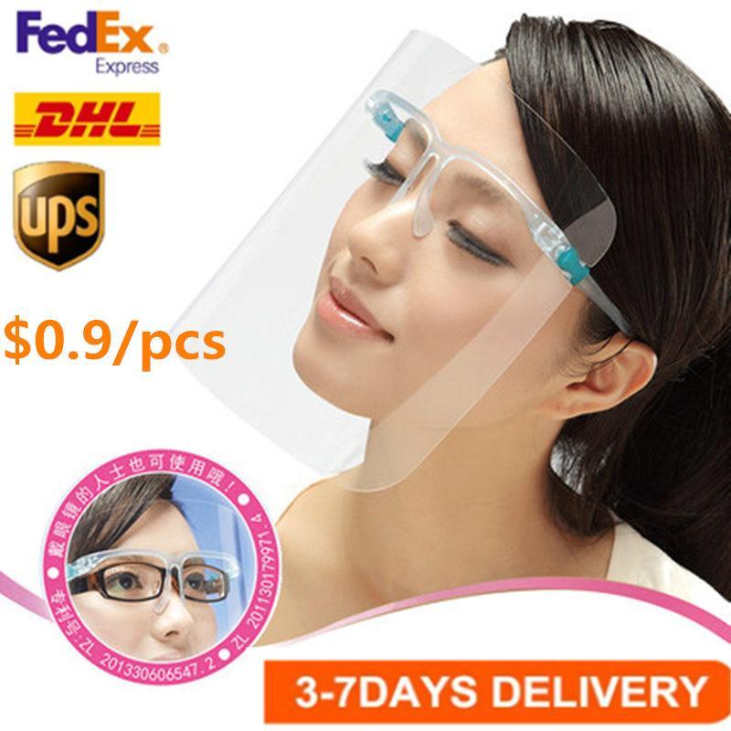 EEUU Stock 3-6 Días Seguridad de llegada hacia Escudo vasos reutilizables gafas de escudo facial visera transparente de la capa anti-niebla proteger los ojos fy8038