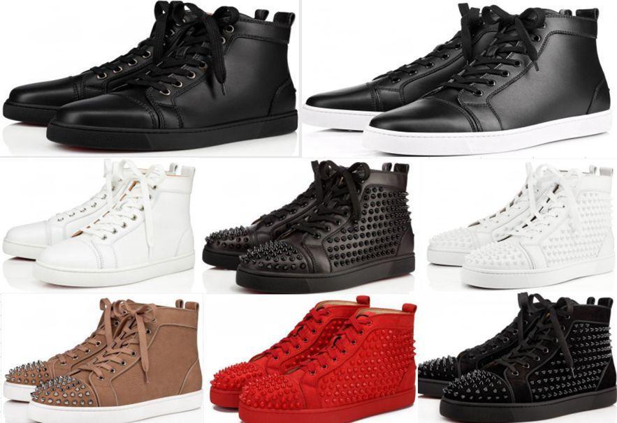 Top qualité chaussures Red Sneakers Sole clouté Spikes Chaussures pour hommes et femmes Chaussures cristal de mariage Sneakers en cuir avec boîte de grande taille 36-47EUR