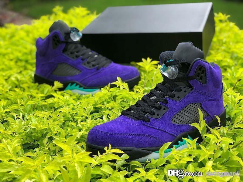 Nouvelle version Air Authentic 5 Alternate Raisin Hommes Chaussures de basket-Grape Black Ice 5S Chaussures de sport New Emerald Suede Effacer sport Chaussures de sport