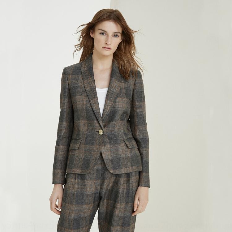 Oapi4 autunno e pantaloni cappotto invernale con un solo pulsante cappotto elegante dimagrante tuta pantaloni alla caviglia di moda 2020 nuove donne vestito scozzese