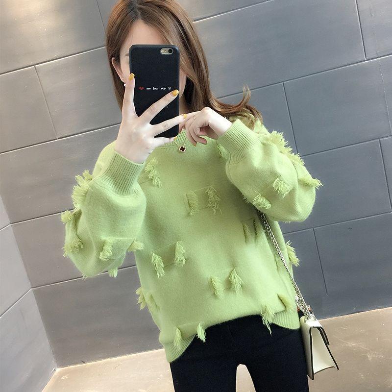 2020 nuevo de las mujeres de Corea del otoño caliente de punto Jerseys de manga larga Jumper Streetwear Moda causal flojo Grueso suéteres W532