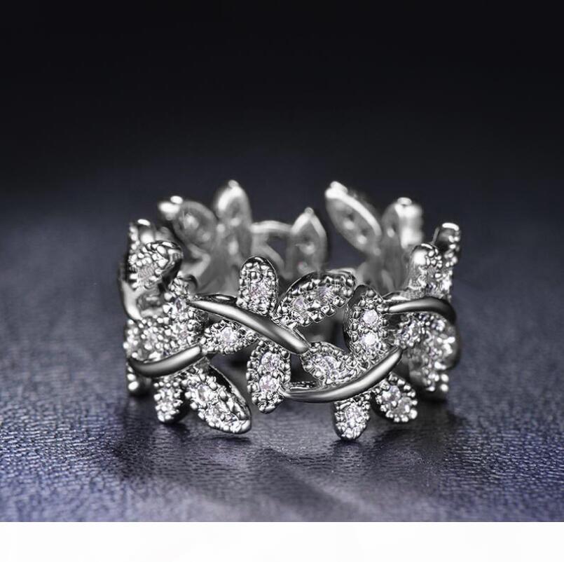 O Victoria Wieck Sparkling monili di lusso 100% Soild puro argento sterling 925 farfalla sveglia White Sapphire donne fiore di cerimonia nuziale Banda R