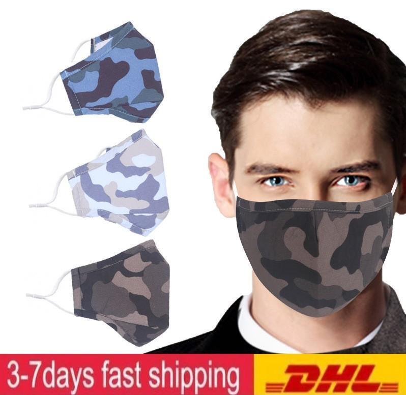 Máscaras com válvula reutilizável com válvula respiratória Cotton Camo Impresso Máscara Designer, é possível inserir PM2.5 Filtros Máscara Em lavável da
