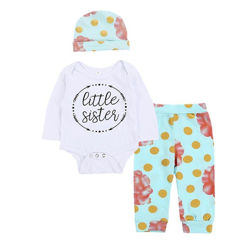 INS nuovi disegni infantili delle ragazze dei neonati pagliaccetti dei vestiti Lettere manica lunga + Polka Dot Pants + Cappelli 3pieces bambini del cotone che coprono insieme