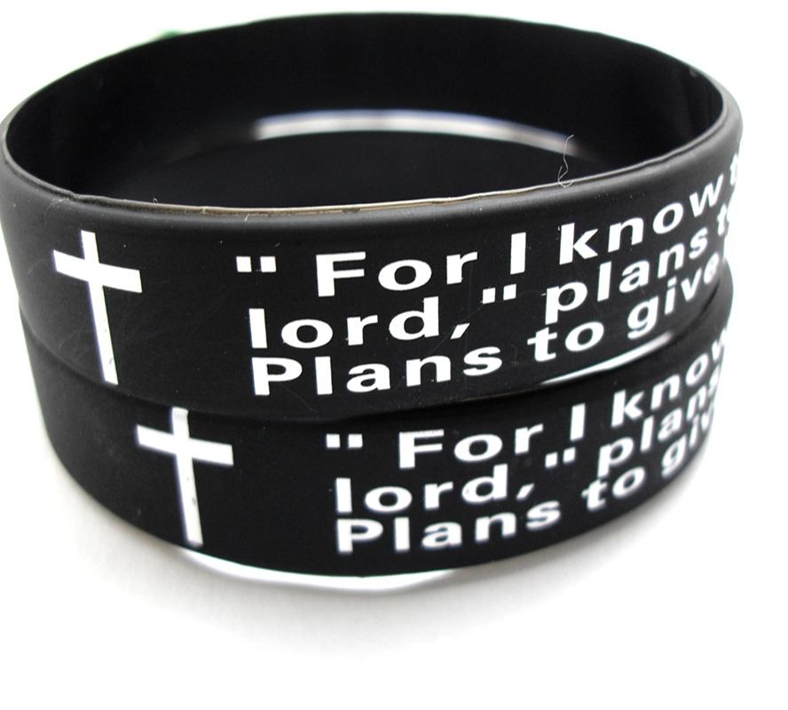 Bulk Lots 100pcs English jeremiah 2911 lords prayer Men Fashion Cross Silicone bracelets Wristbands wholesale Religious Jesus Jewelry Lots