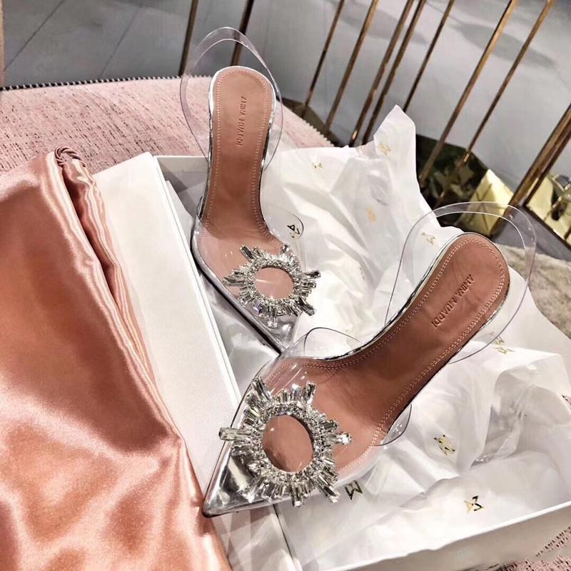 Ücretsiz nakliye Moda kadın bayan gümüş net pvc rugan strass kristal topuklu ayakkabı seksi parti ayakkabı sandalet pompaları