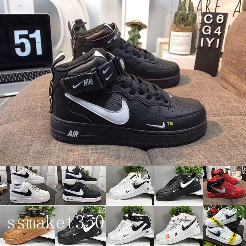Nike Air Force 1 One Af1 2020 Scarpe Sport Skate Runing di Dunk mosca coda donne 1 Uno esterna degli uomini Sneakers Alto Basso Basso Nero Bianco Taglie 36-45 TL4-A