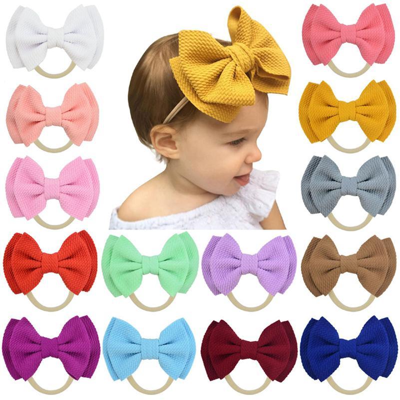 20 Renk Bebek Aksesuarları Bebek Kız Bebek Sevimli Big Bow Baş bandı Yenidoğan Katı Şapkalar Headdress Naylon Elastik Saç Bandı Hediyeler Dikmeler B1
