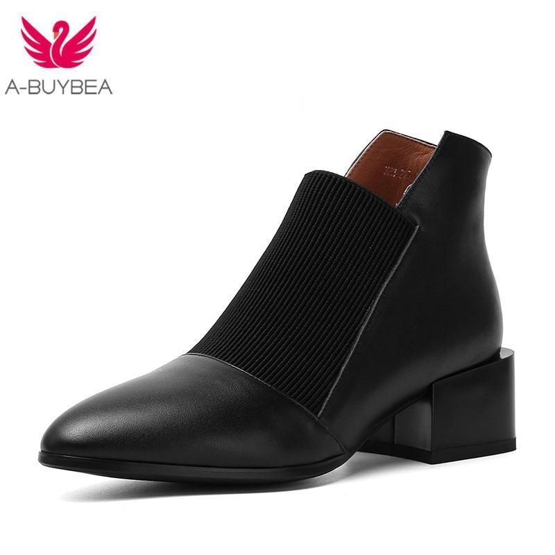 Bottes populaires massif Classic Slip Oxford Pointu Toe Shoes de printemps véritable en cuir souple Concise Noir Bottines
