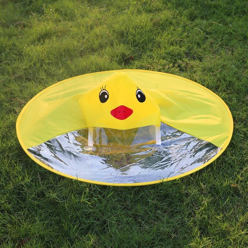 Pjq6j Tiktok Umhang gleiche gelbe Ente Baby Regenschirm UFO Jungen und Mädchen Regenmantel Cape Poncho Regenschirm Kappe PEVA Regenmantel