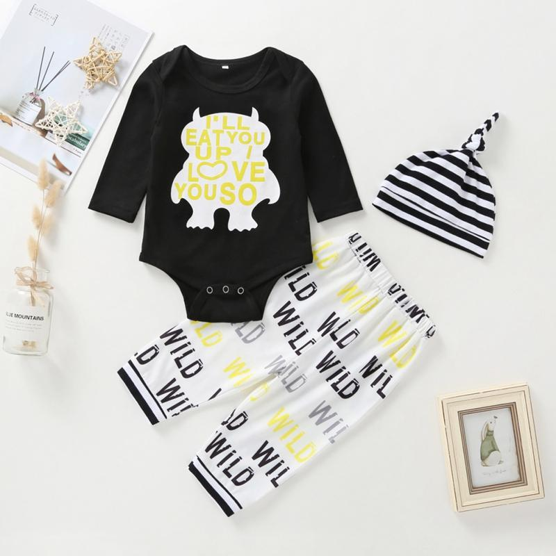 Clothing Sets 0-24M Autumn Baby Boy Girl Long Sleeve Letters Print Romper Tops Trousers Striped Hat Outfits Clothes Est.