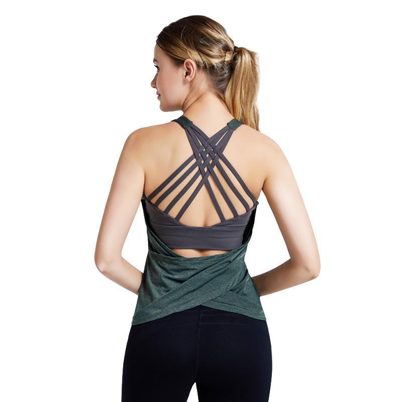 Yoga lukitas Mulheres da aptidão shirts Cruz Correias Falso Cozy duas peças Esporte Vest Sportswear Correndo Workout mangas Camisa de esporte