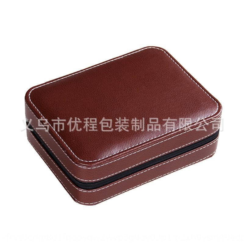 saco de couro com zíper portátil de 4 bits saco de armazenamento caixa de Pu relógio de armazenamento Assista