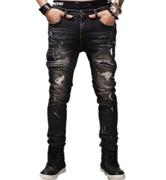 2020 Modèles d'automne et d'hiver Ripped Skinny Jeans Hommes Marque Boutique coton multi-poches Dot Peinture Taille Plus Pantalons Jeans