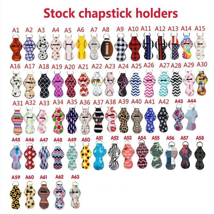 caso da cadeia de moda Key Neoprene Chapstick Titular Teste padrão colorido Neoprene Keychain saco bálsamo AccessoriesT2I51256 pingente de moda