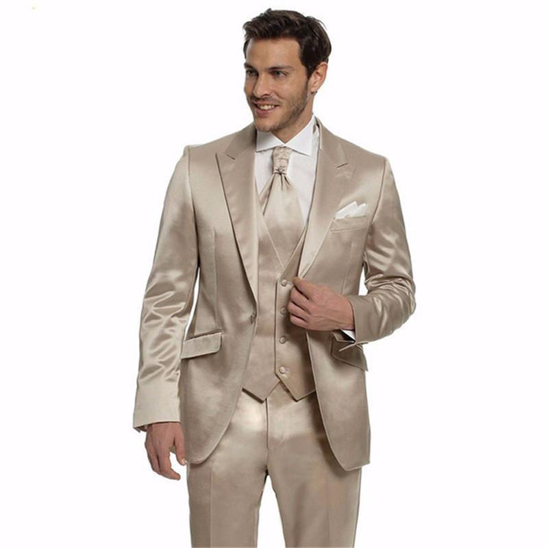 2020 New Kerbe Revers One Button Bräutigam Smoking Sonder Groomsmen Gold-Wolle Herren Anzüge Business Dinner Kleidung (Jacke + Pants + Vest)