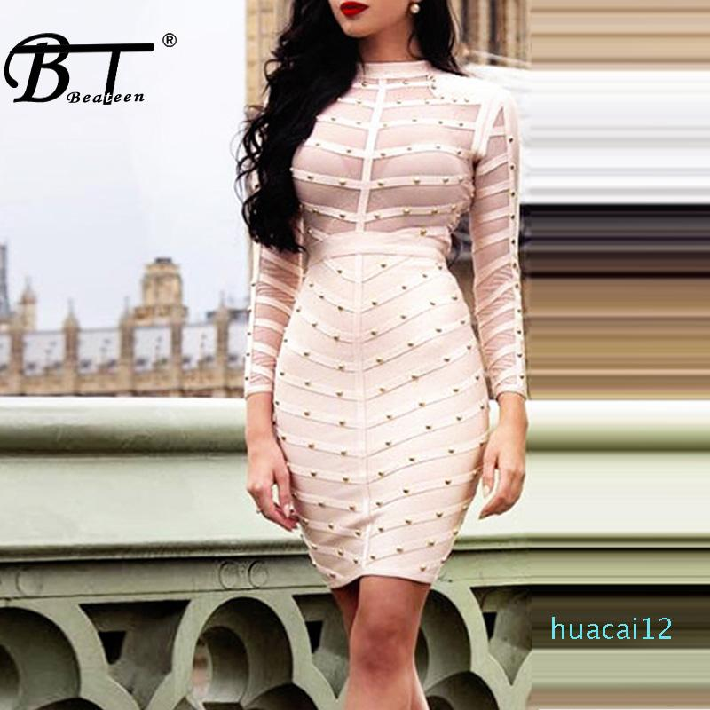 Fashion-Beateen Women Long Sleeve Studded Bandage Dress Knee Length Sexy Club Mesh Bodycon Party Dresses Wholesale 2018 Hot Sale