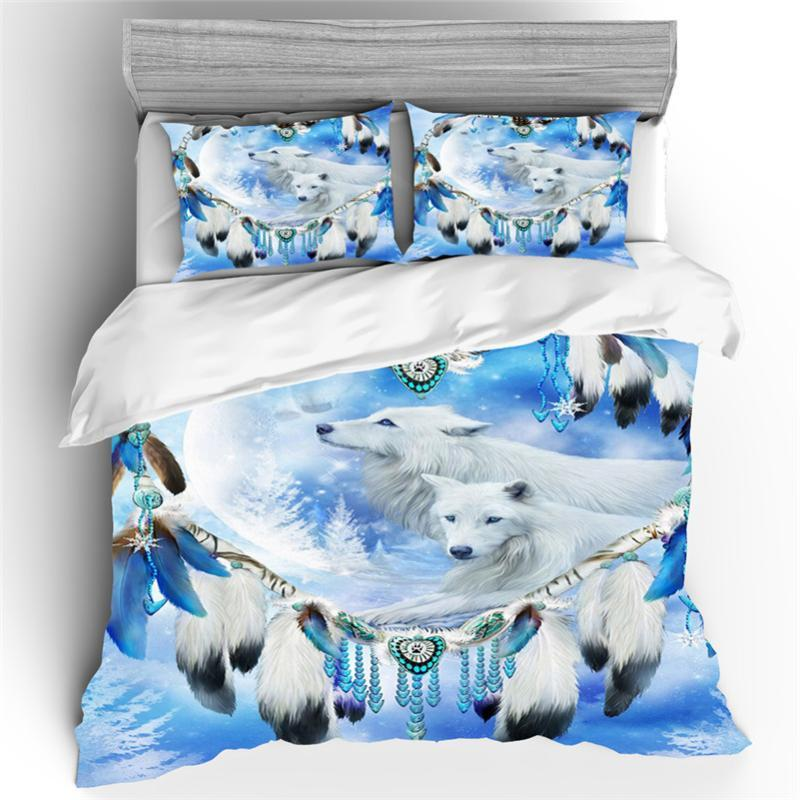 3D Wolf Bedding Set Animal Print Duvet Cover Pillowcases Single Twin Queen King Size Bed Cover Wolves Bedclothes Dropshipping