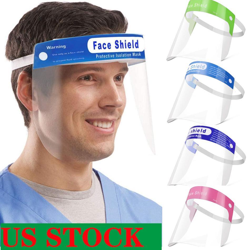 US Stock! Sécurité beaucoup de couleurs bouclier visage transparent de protection Masque complet des masques de protection anti-buée haut de gamme PET Matériau écran facial